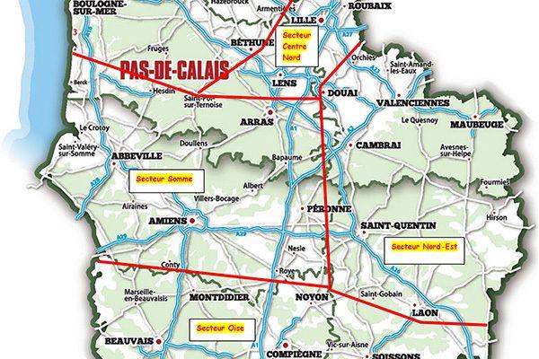 région Hauts-de-France découpée en secteurs