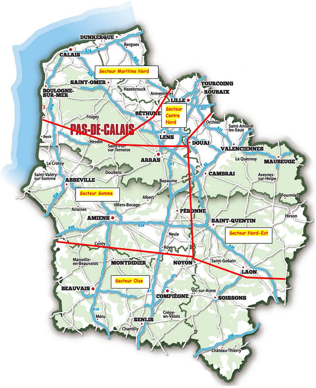 région Hauts-de-France découpée en secteurs, secteur Maritime Nord