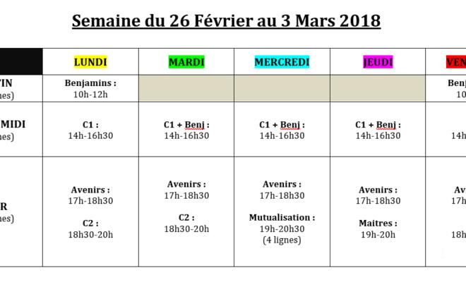 Planning des vacances de Février 2018